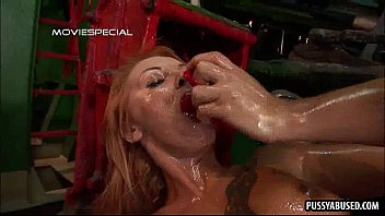 Oiled up blonde babe getting her pussy cummed on