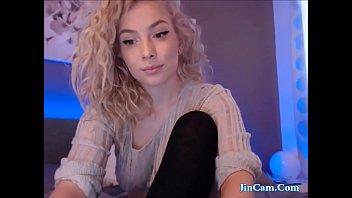 Blonde Curly hair masturbate with vibrator