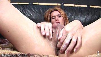 Redhead TS gives her shedick hard tugjob till messy cumshot