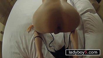 Pretty ladyboy shemale blowjob and anal doggystyle fuck