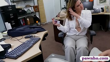 Busty brunette woman nailed by pawn dude