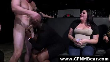Muscled stripper gets blowjobs from amateurs at CFNM party