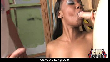 Interracial group blowjob from a ebony slut 11