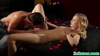 Attractive blonde is having powerful orgasm while guy eats her pussy
