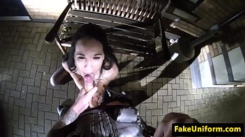 British hooker POV drilled by cop in public