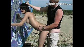 brunette teen hard sex at beach
