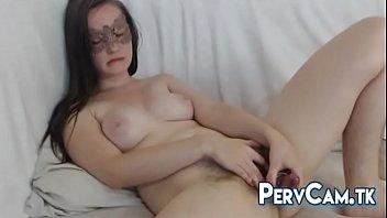 Hairy Pussy Camgirl Glass Dildo Masturbation