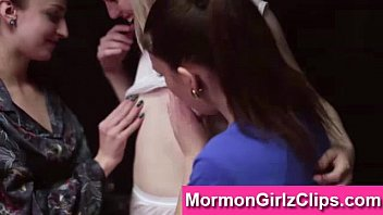 Lesbian threesome for Mormon girls in ritual underwear