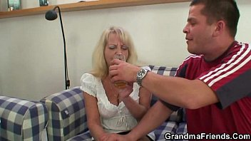 partying men drill light-haired grannie