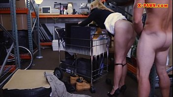 Hot blonde milf fucked with pervert pawn man in storage room
