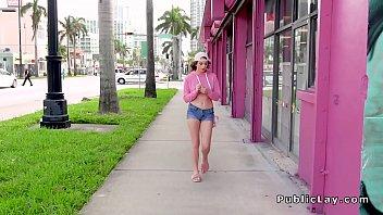 Teen bangs huge dick in public alley