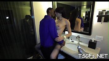 Voluptuous transsexual vixen provides anal for hardcore group-sex