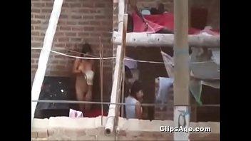 indian girl naked outdoor bath