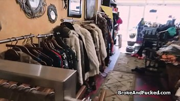 Sucked at fashion store by broke ebony teen