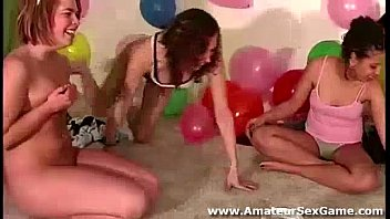 Lesbian amateurs playing naked party sex game