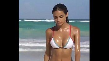 Hot sexy sweaty girl on beach