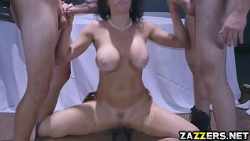 Three horny men pounded Veronica'_s pussy and ass hardcore
