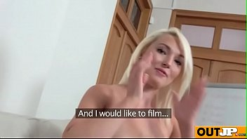 Lovita Fate blondie on sofa play with her pussy to get big dick on casting sex tape