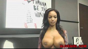 Stunning ebony Ravenxxx with huge boobs masturbates and squirts ALIVEGIRL