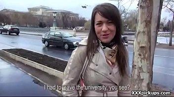 Cutie amateur european teen suck dick for cash in public 04