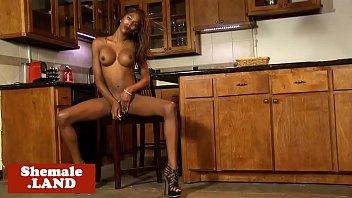 marvelous black transsexual milking off her.