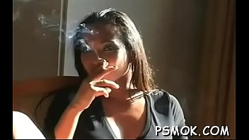 jaw pulling down beauty taunting with a ciggie.