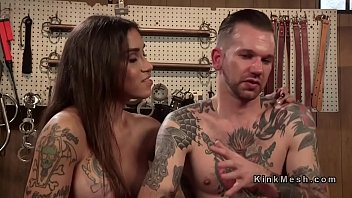 Huge tits tranny gets blowjob and anal